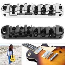 1 Set Chrome Zinc Alloy LP Electric Guitar Roller Saddle Tune-O-Matic Bridge w/ 2 Studs Guitar Parts & Accessories