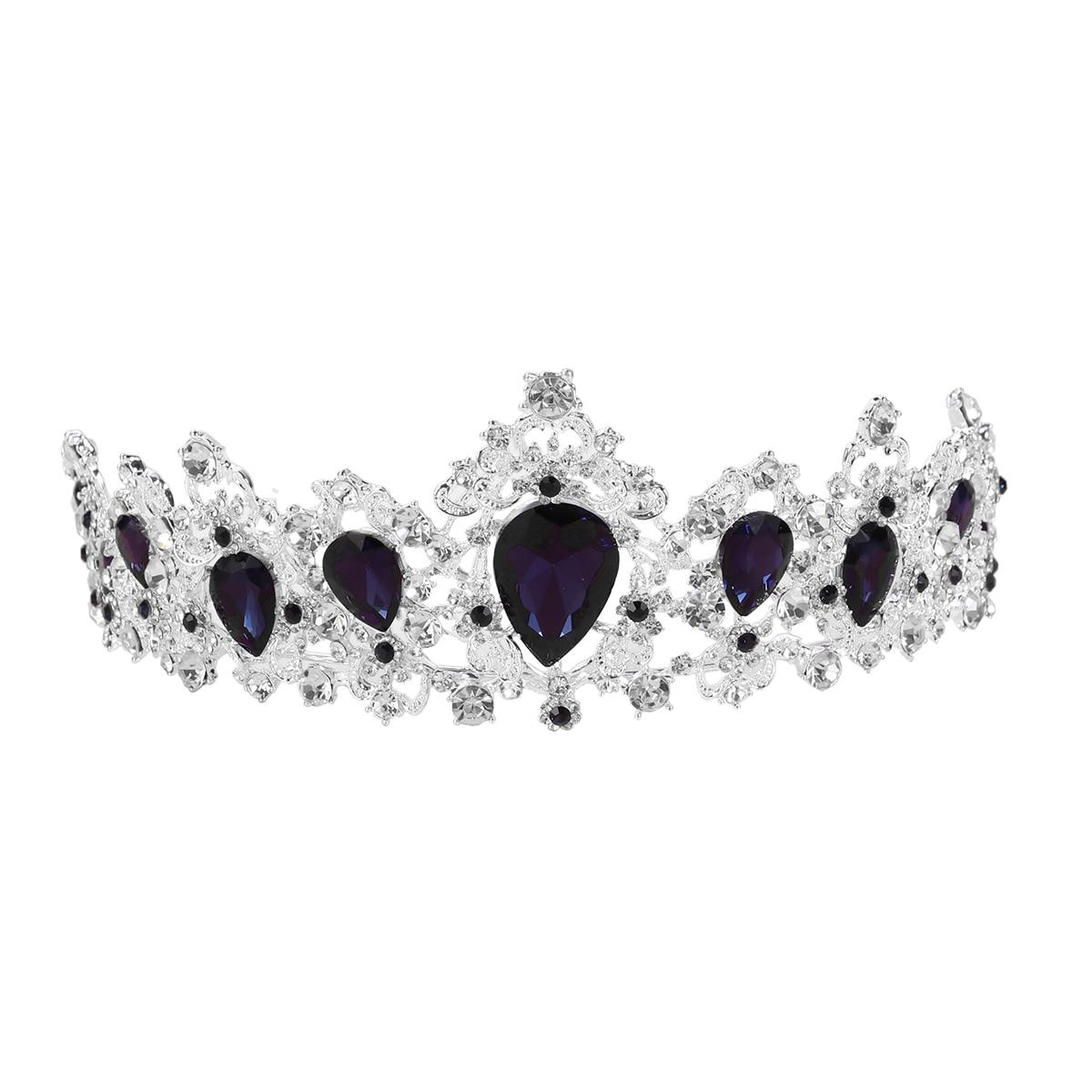 Tiara de brillantes de aleación de corona Vintage barroca, diadema nupcial, accesorio para el cabello, tocado de Boda (azul oscuro)