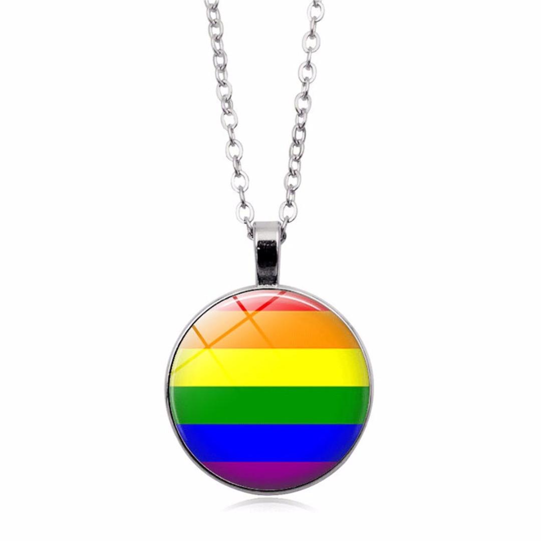 De moda de cristal colorido Arco Iris redondo colgante collar para bisexuales Orgullo Gay Lgbt joyería Shellhard Unisex cadena larga
