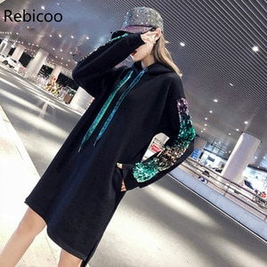 Autumn Women Dresses Plus Size Fashion Casual Loose Embroidery Sequins Long Sleeve Hooded Sweatshirt Dress For Women One-Piece