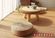 Mobília asiática tradicional do rattan do estilo japonês da tabela redonda do estilo asiático para a sala de estar da varanda baixa mesa de centro do assoalho de madeira
