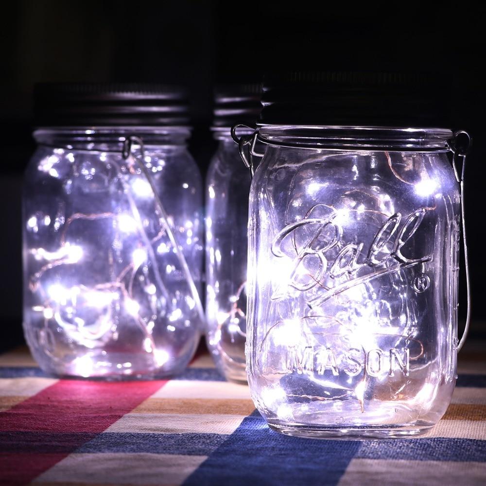 Serie de luces LED para jardín, jarras de vidrio de Navidad, luz Solar guirnalda de luces LED D25