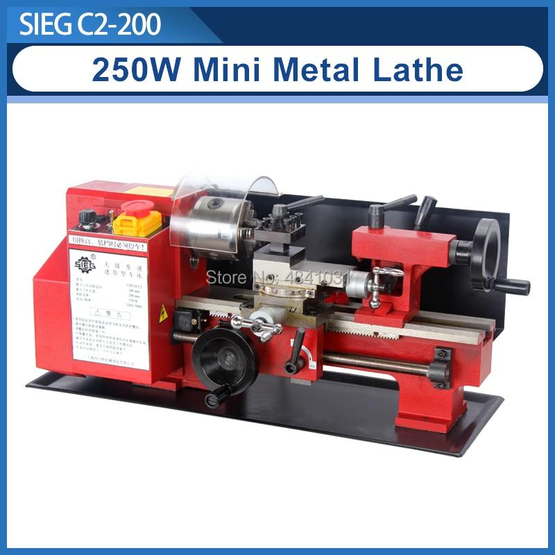 Mini Precision Metal Lathe/SIEG 250W motor+C2-200mm 2500RPM Variable Speed Mini Lathe/working length Micro Wood & Metal Lathe