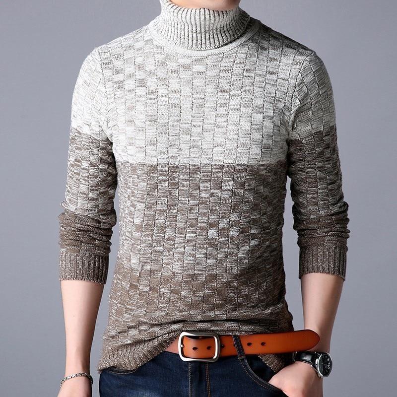 Zollrfea зимний теплый свитер с высоким воротником для мужчин компьютерный вязаный