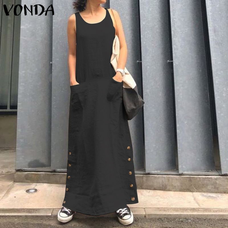 Sleeveless Long Dress Women VONDA 2020 Sexy Summer Pockets Button Solid Party Dress Vintage Vestido Casual Robe Femme Sundress