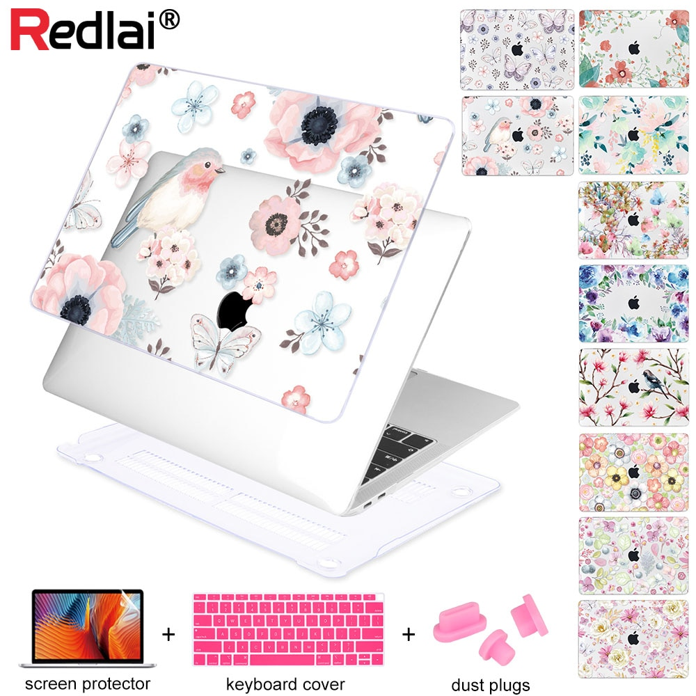 Floral portátil caso para Apple Macbook Air Pro Retina, 11 12 13 15 para MacBook Pro 13,3 pulgadas con Touch bar 2018 A1932 A1989