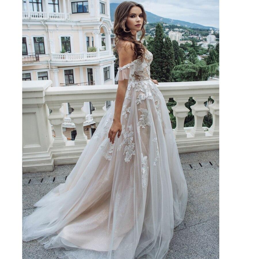 Купить с кэшбэком 2019 Princess Wedding Dresses Off The Shoulder Sweetheart Applique Tulle Wedding Gowns See-through Robe De Mariee Back Buttons