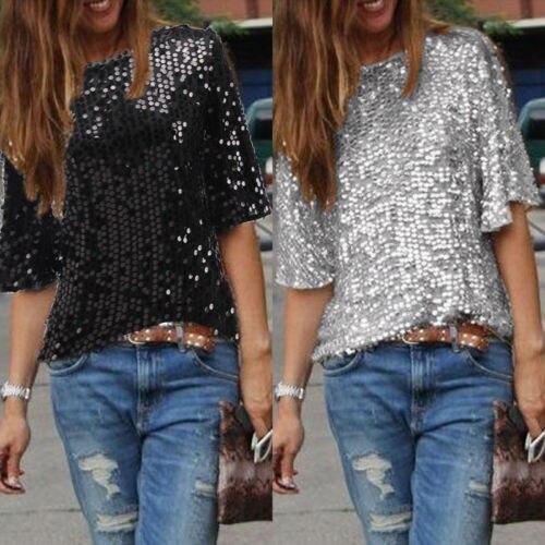2019 New Sexy slash neck full sleeve Women Off shoulder Slim Loose Shirt Top Glistening Sequin T-shirt Tshirts Tees Boutique
