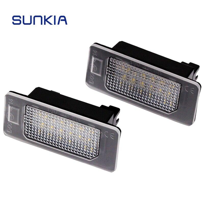 SUNKIA Car LED licencia lámpara para Seat ALHAMBRA/IBIZA/ST luz LED de señal 24 # alta calidad SMD LED sin errores incorporado Canbus