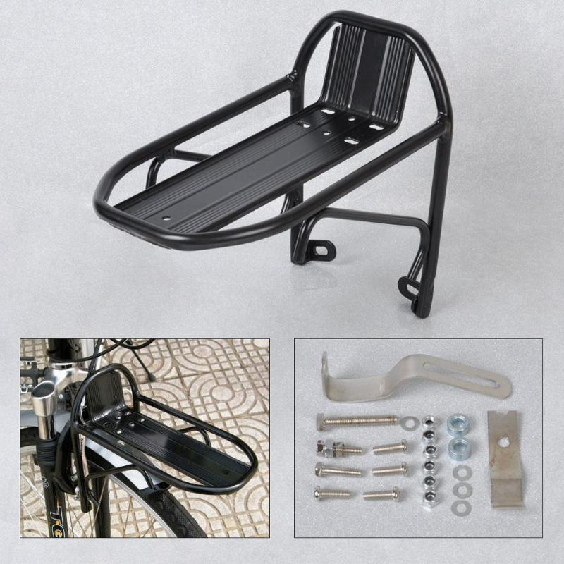 Aleación de aluminio bicicleta delantera Rack camino bicicleta portador Panniers bolsa portador estantería para equipaje MTB ciclismo soporte duradero resistente