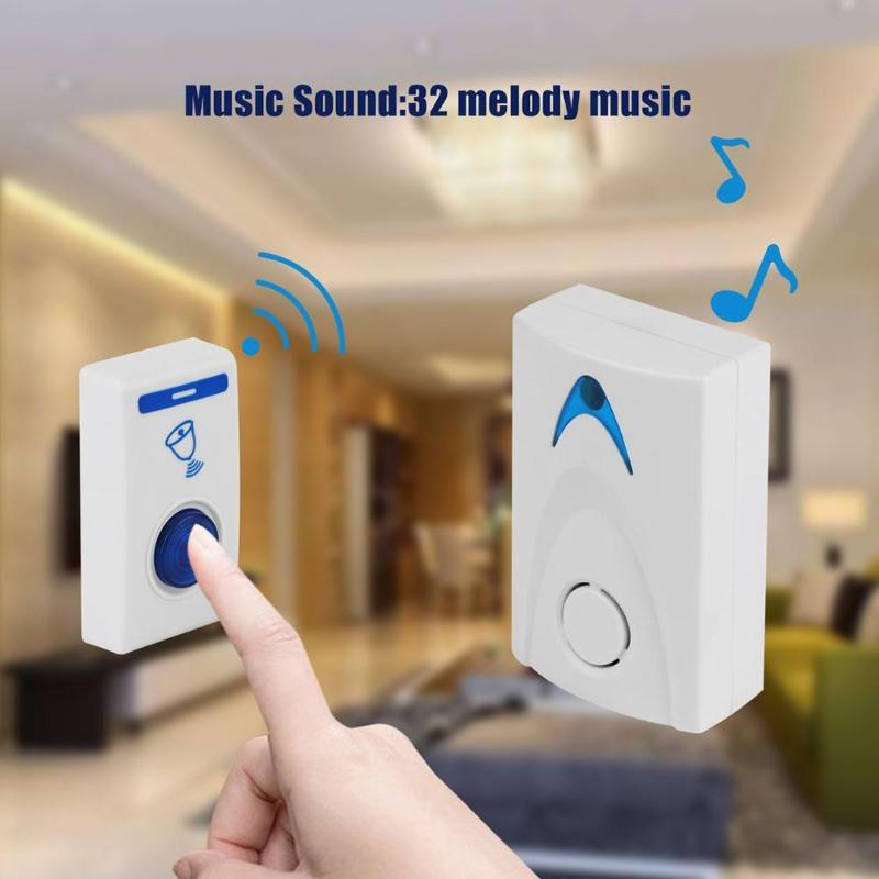 Pila para timbre de puerta LED blanca, pila para timbre inalámbrica, alimentado por 32 canciones, 1 Control remoto, 1 timbres inteligentes inalámbricos de seguridad para el hogar