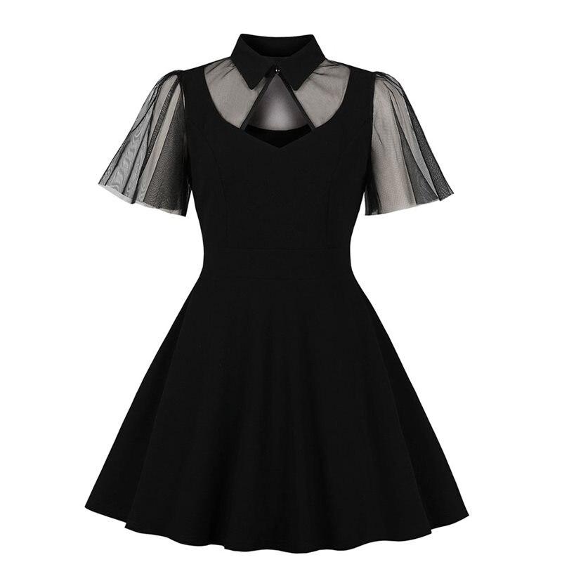 Verão casual vestido do vintage feminino renda gótica ver através elegante malha manga oco sexy gótico preto festa elegante swing vestidos