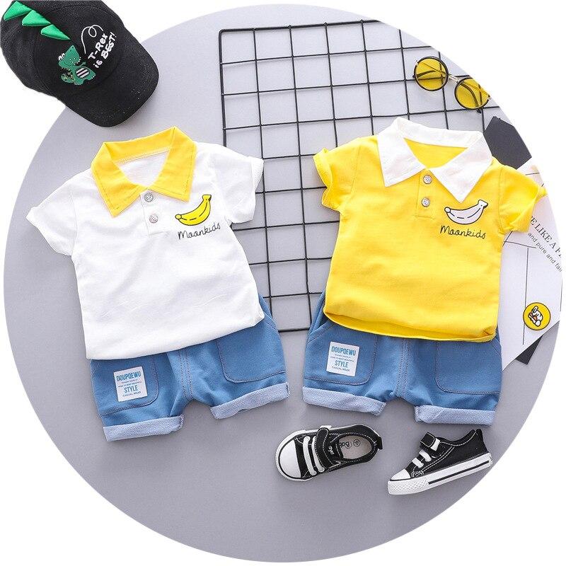 OKLADY 2019 קיץ האמריקאי תינוקת בגדי סט חמוד בננה הדפסת צהוב לבן סקאוט T חולצות קצר מכנסיים פעוט ילד ילד סט