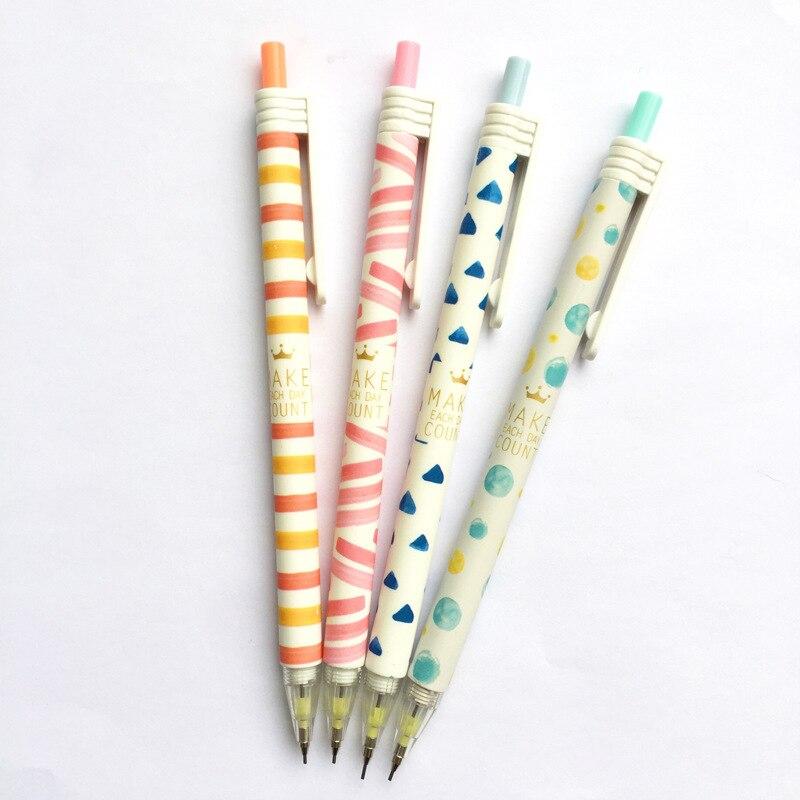 4 unids/lote 0,7mm lápiz mecánico geométrico colorido bolígrafo automático para chico escuela Oficina suministros escolares papelería