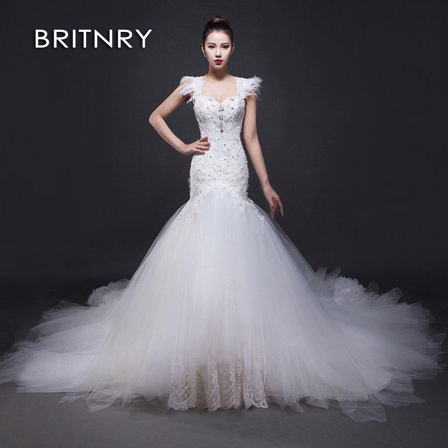 BRITNRY 2020 Neueste Mermaid Brautkleider Appliques Spitze Braut Brautkleider Braut Kleid Nach maß Vestidos de Novia