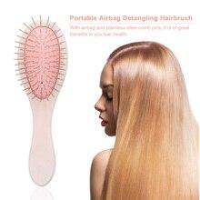 Wooden Hair brush Mini Airbag Comb For Hair Anti-static Scalp Massage HairBrush Detangling tangle Hairdressing Supplies