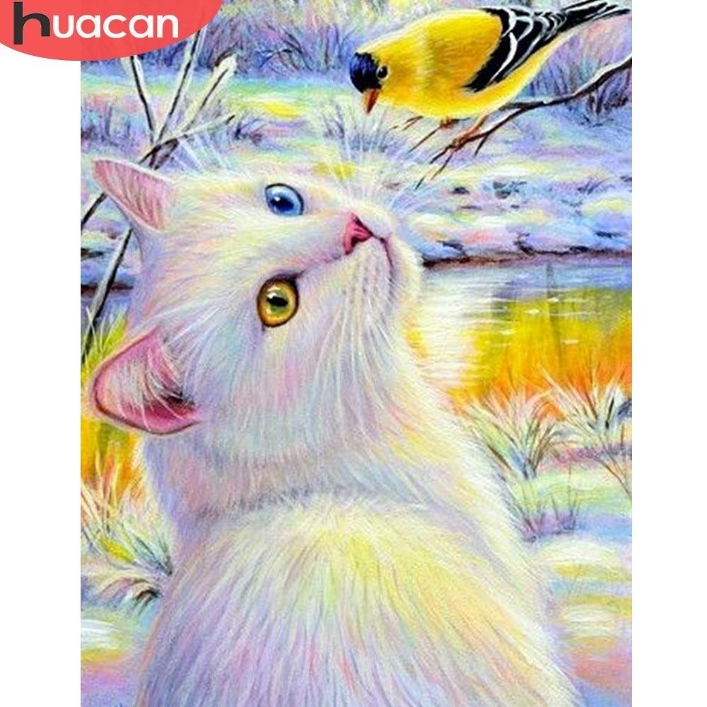 HUACAN Full Square Diamond Painting Animal 5D DIY Cat Bird Cross Stitch Diamond Mosaic Resin Diamond Embroidery Home Decor Gift