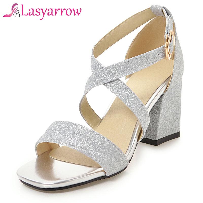 Lasyarrow zapatos de mujer chaussures femme  zapatos mujer tacon  chunky high heels open toe gladiator sandalias gold silver