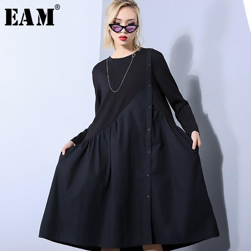 [EAM] 2020 nouveau printemps automne col rond à manches longues noir ample plissé irrégulière fendu Joint robe femmes mode marée JO454
