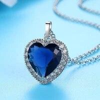 dark blue ocean zircon necklace classic fashion titanic ocean heart pendant zircon luxury ocean pendant zircon necklace