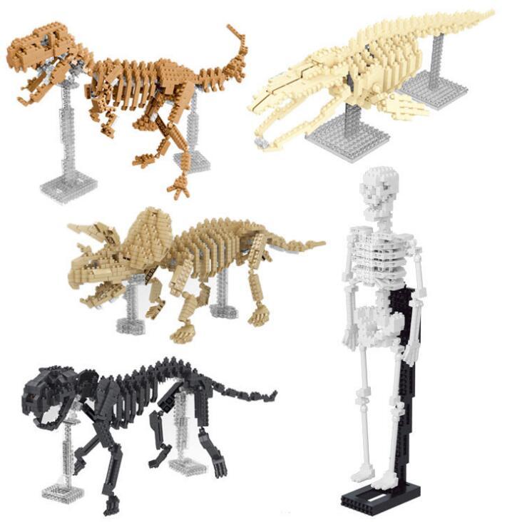 YZ Modelo de esqueleto DIY Tijolos de Construção de Blocos de Diamante 3D Leilão Figura Tigre Dinossauro Esqueleto Do Corpo Brinquedos Juguetes Presente Do Menino 66508