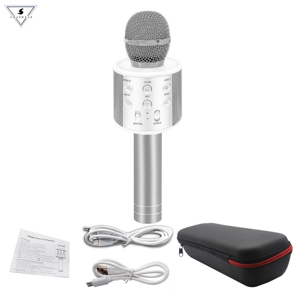 Micrófono WS-858 bluetooth inalámbrico condensador profesional micrófono de karaoke sonido mágico mikrofon grabación de estudio de la fotografía