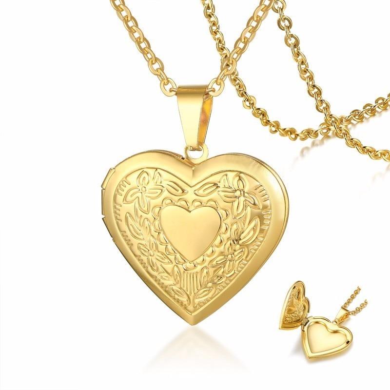 Женский романтичный цветочный тиснением золотой медальон колье девушки сердце кулон с фото из золотой нержавеющей стали для девочек