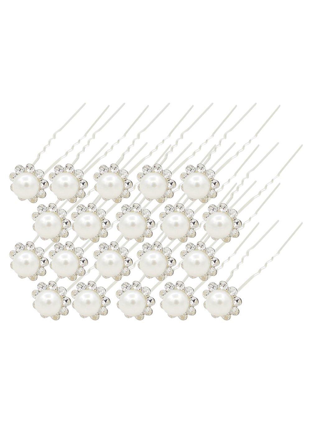 20 Pcs Wedding Bridal Pearl Flower Crystal Hairpin Hair Clips Bridesmaid (white)