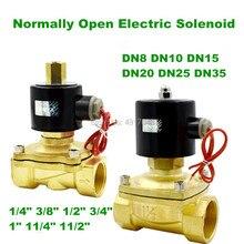 "Envío Gratis 1/4 ""3/8"" 1/2 ""3/4"" 1 ""válvula solenoide eléctrica de latón normalmente abierta válvula neumática de 12V 24V 220V para aceite de agua"