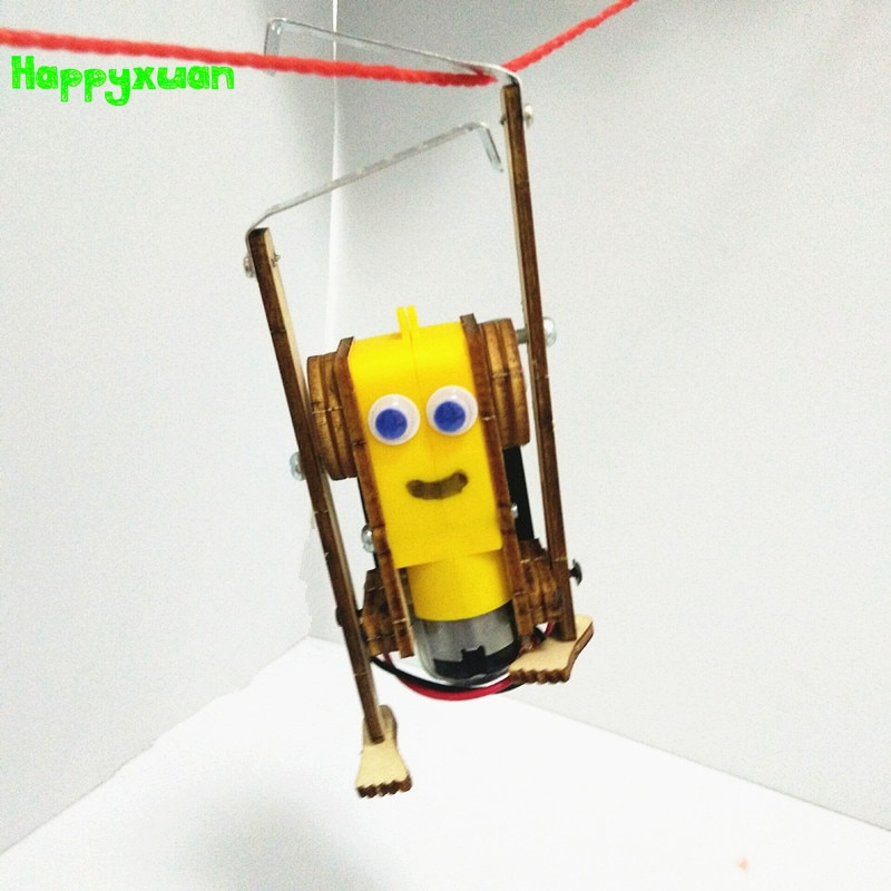 Happyxuan DIY Electric Robot Rope Climbing Kids Science Discovery Toys STEM Education Physics Experi