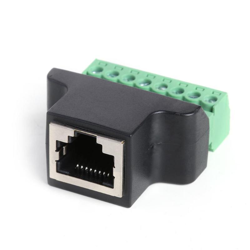 Adaptador de terminal de tornillo ALLOYSEED RJ45 hembra a 8 pines para sistema de monitoreo CCTV, adaptador enchufable de terminal de tornillo para Cat.5 Cat.6