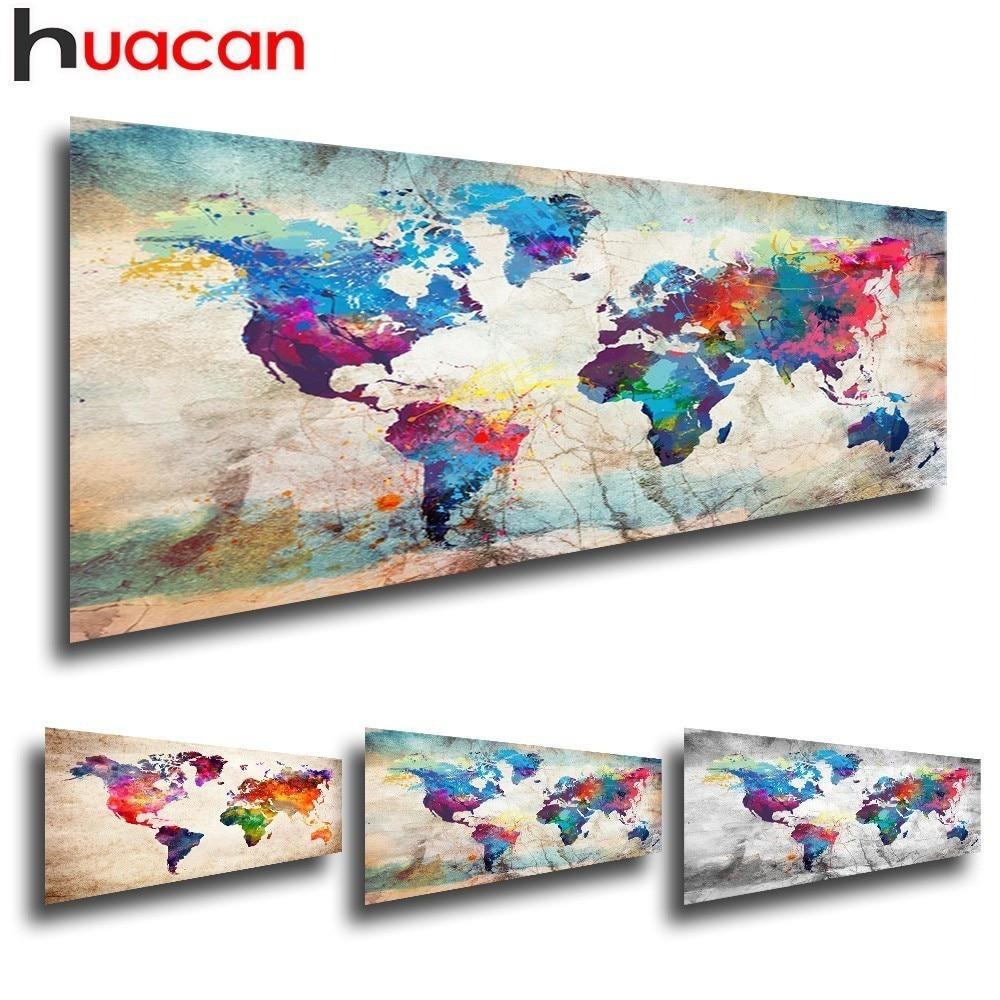 Cuadro con mapa de diamantes cuadrado completo Huacan, bordado de diamantes del mundo, venta de mosaico DIY, imagen de paisaje de diamantes de imitación
