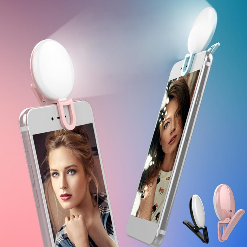 Selfie Flash portátil Led Cámara Clip-on móvil Selfie para teléfono Anillo de luz Led mejora de noche Luz de relleno para iPhone Android teléfono
