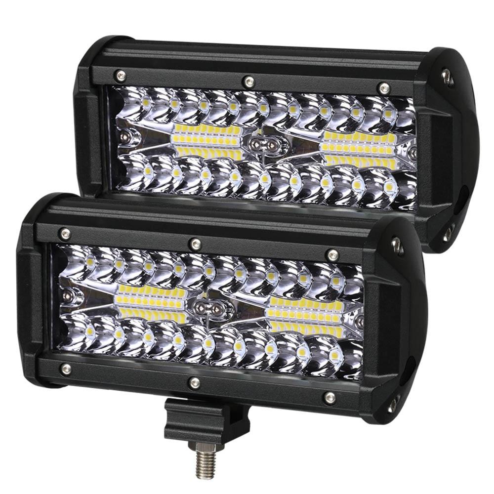 Barra de luz LED de 7 pulgadas, barra de luz LED de 3 filas, haz combinado de luz de trabajo para conducir, barco, coche, Tractor, camión 4x4 SUV 12V 24V