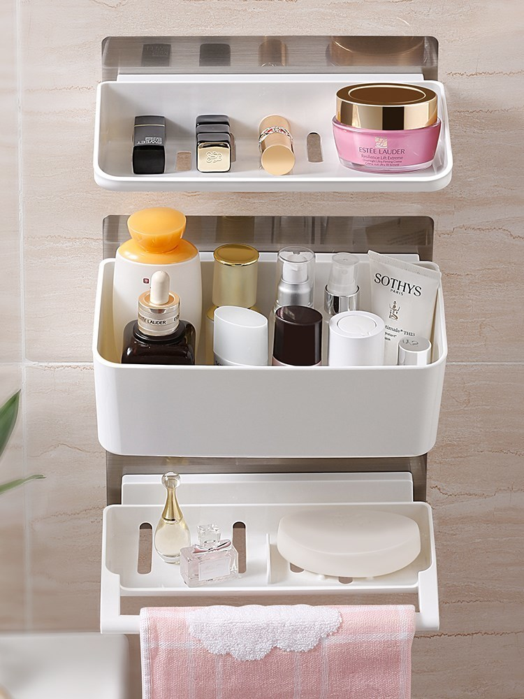 Houmaid Bathroom Plastic Shower Room Soap Makeup Storage Holder Kitchen Jars Bottles Storage Shelf Towel Storage Racks