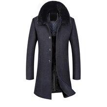 Fine Mens Long Section Casual Woolen Jackets Rabbit Fur Collar Wool Coats  New Arrivals Off Men S Wool & Blends Jackets