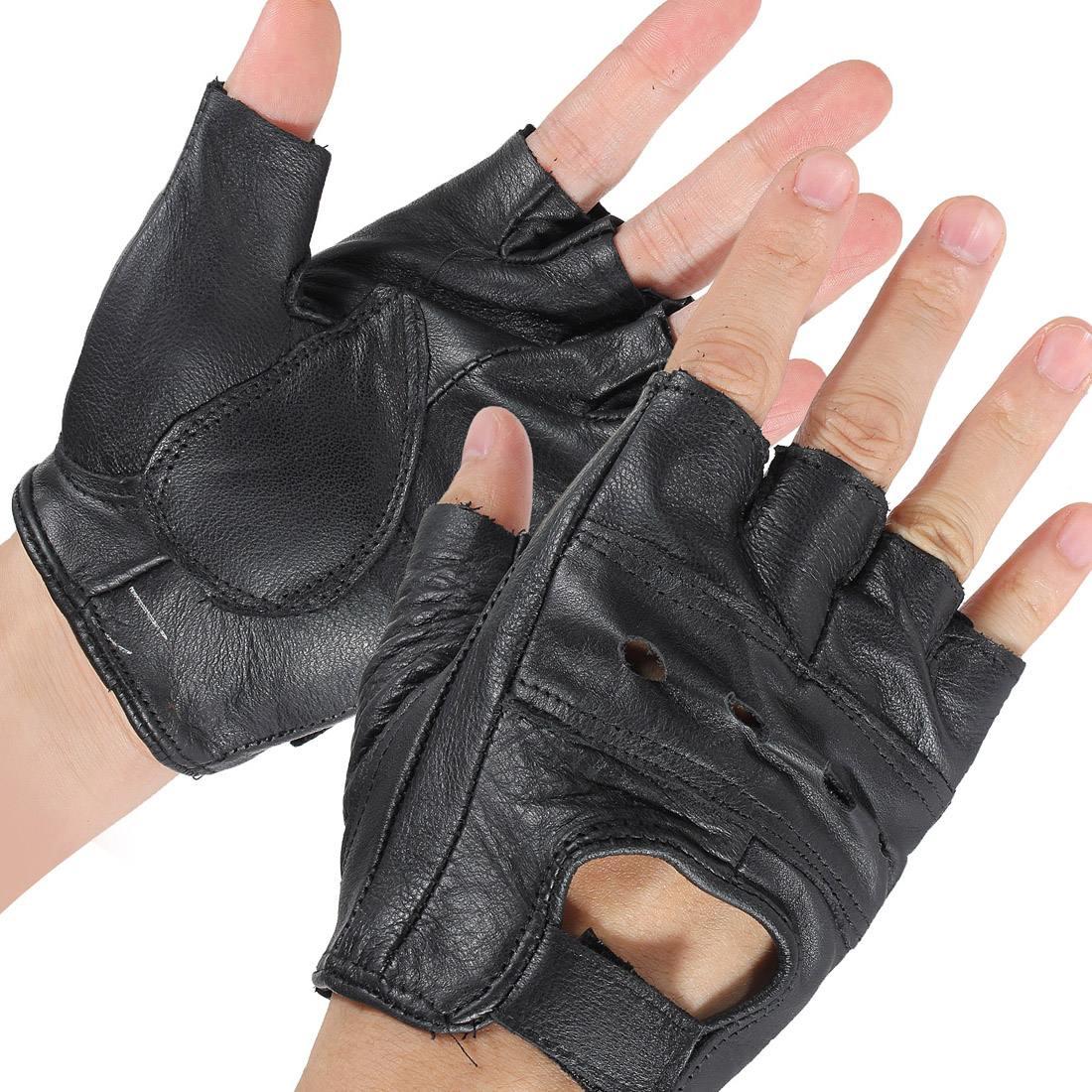 2pcs M Black Medium Fingerless Leather Motorcycle Glove Vented Cowhide Multi-use Half Finger Leather