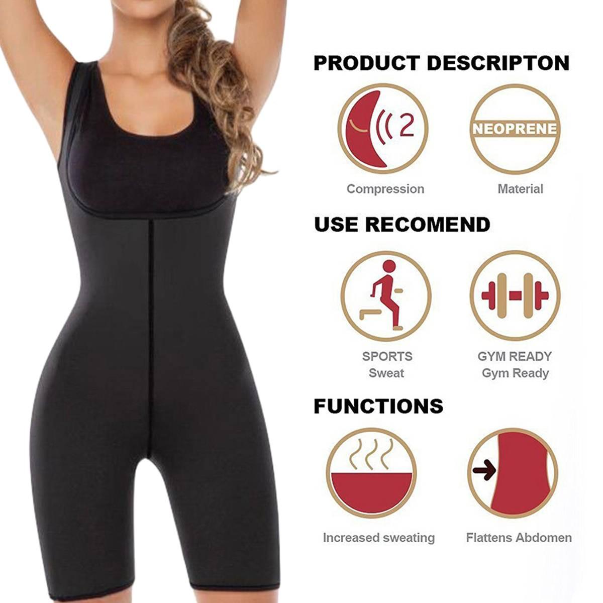 Women Weight Loss Corset Shapewear Full Body Shaper Neoprene Sauna Suit Slimming Burne Tummy Fat Yoga Trainer Sportswear Black