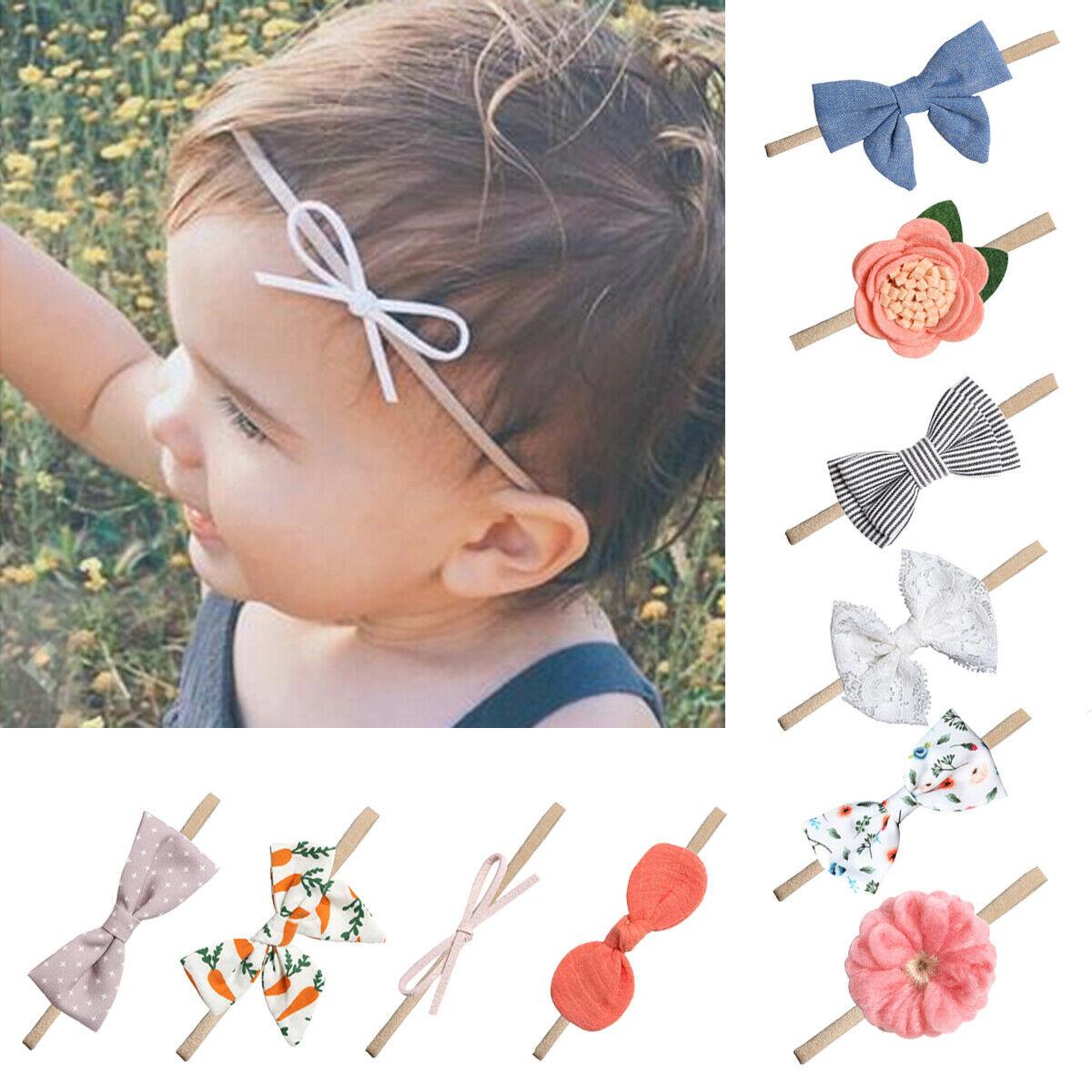Bebé recién nacido chica chico arco diadema flores rayas arco banda de pelo tocado sombreros 1/10 piezas