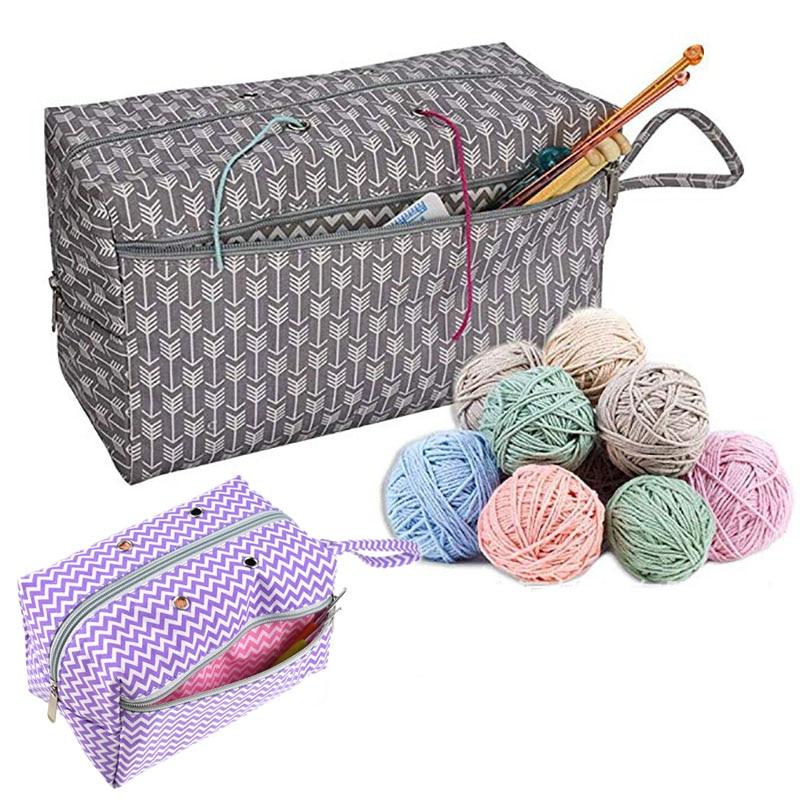 DIY sewing  Crocheting Knitting Organizer 2 Sizes Yarn Storage Organizer With Divider Portable handmade sewing supplies storage