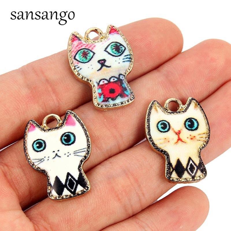 5PCS/2PCS Colorful Enamel Cute Small Large Cat Zinc Alloy Charms Pendant For Women Kids DIY Necklace Bracelet Jewerly Accessory