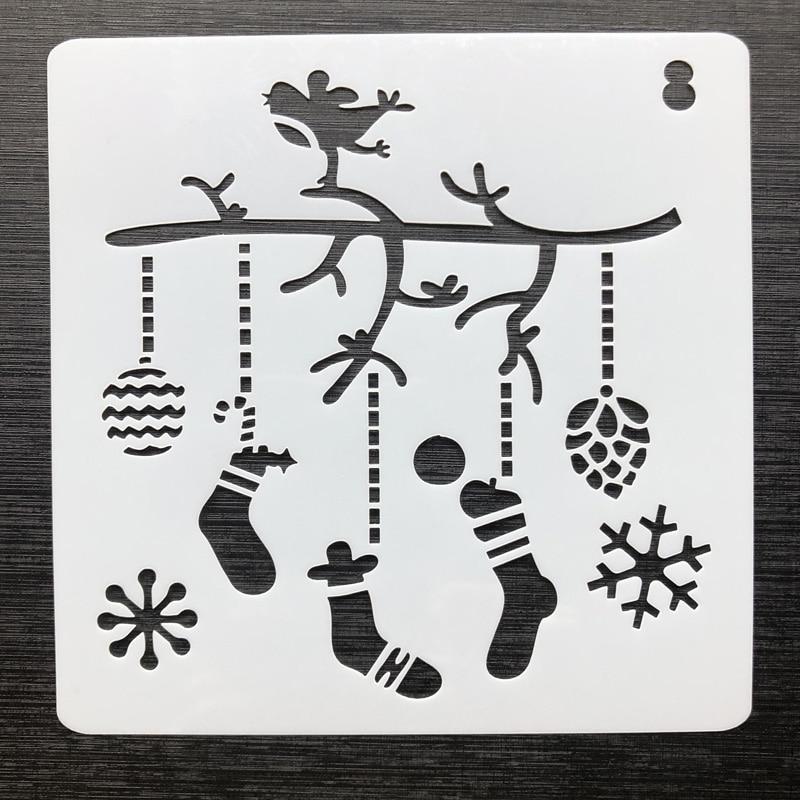 Medias de Navidad DIY plantillas de capas huecas para pintar paredes Sello de álbum de recortes álbum de decoración Plantilla de tarjeta de mascota en relieve