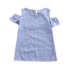 Zomer Pasgeboren Baby Meisjes Prinses Zoete Mooie Zomer Jurk Bloemblaadje Mouw Off Shoulder Blue Striped Terug Knop Boog Mini Jurk