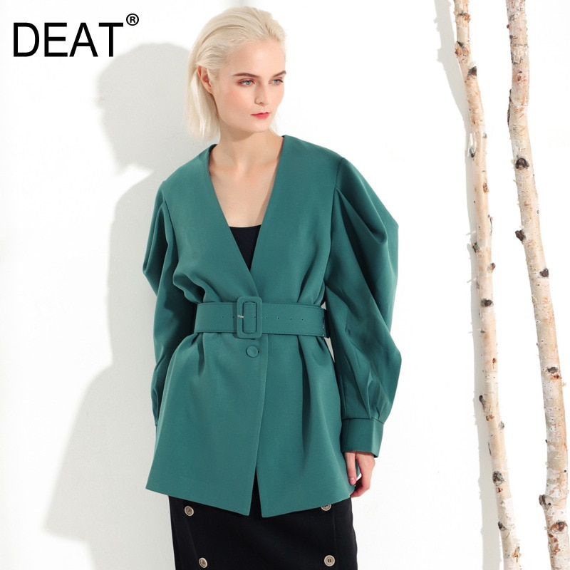 Deat 2020 nova moda primavera roupas femininas decote em v tribunal estilos lanterna mangas cintura jaqueta cintos largos feminino we37206