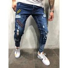 3 Stijl Mannen Ripped Skinny Biker Jeans Vernietigd Verzwakte Print Borduren Slim Fit Denim Broek Jean