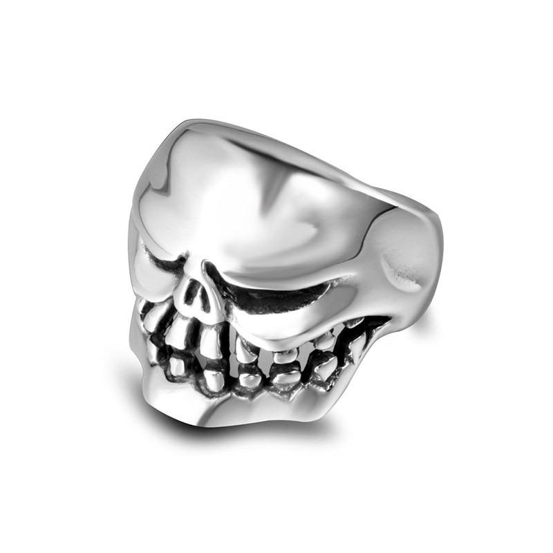 Único monstruo feo modelo de calaveras vikingo anillo personalidad Punk estilo titanio acero joyería US 7-12 tamaño