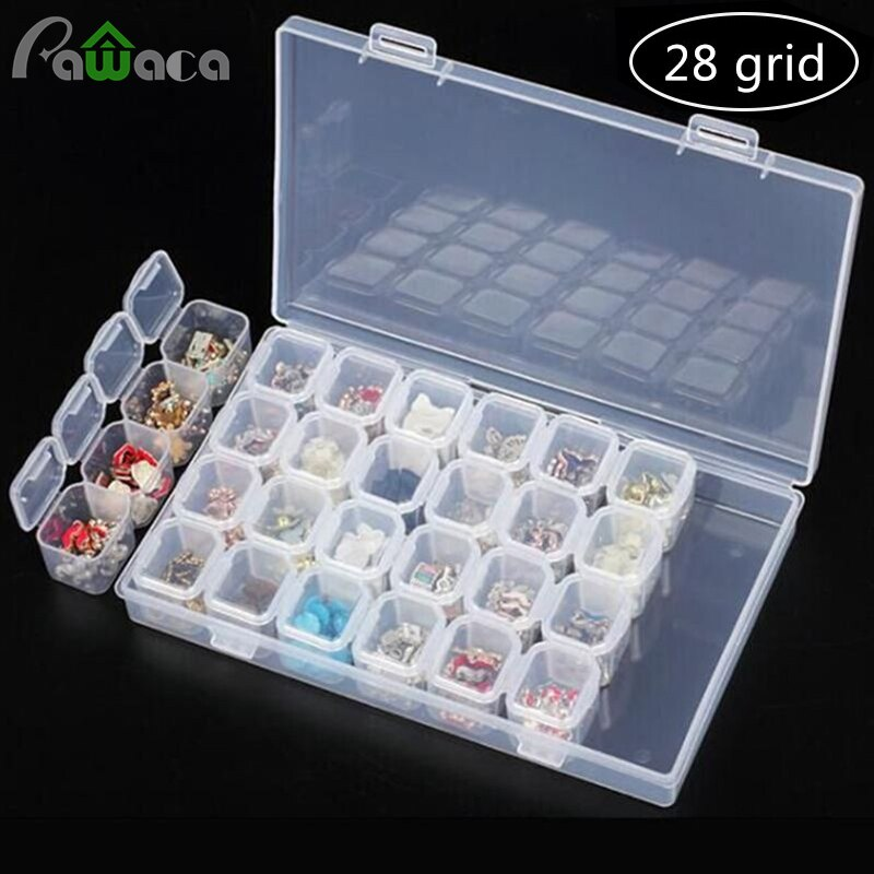 28 ячеек, коробка для алмазной вышивки, коробка для хранения ювелирных изделий, алмазные аксессуары для рисования, коробка для рукоделия, художественного Ремесла, ювелирных изделий, таблеток, маленьких деталей