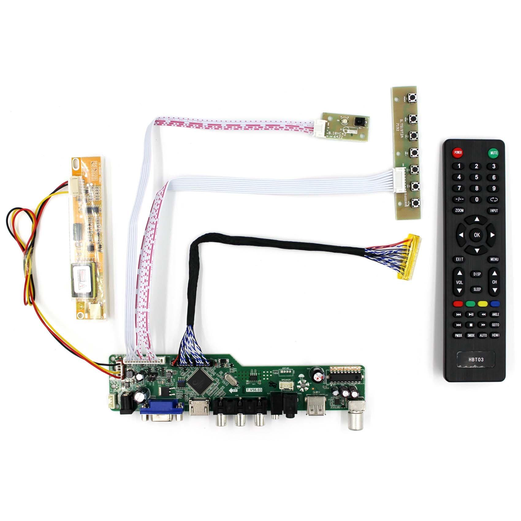 HDMI VGA AV USB RF LCD плата контроллера T. V56.03 работает для ccfl подсветки 30pin lvds LCD 17 дюймов 1440x900 B170PW01 V1