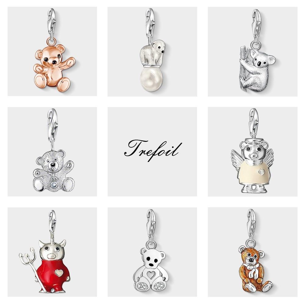 Rose Gold Teddy Bear Koala Polar Charms Pendant,Jewelry 925 Sterling Silver Cute Gift For Women Girls Fit Bracelet Necklace Bag