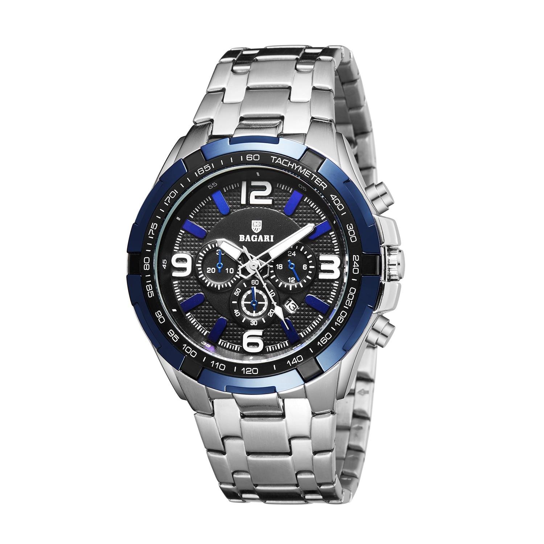 BAGARI correia dos homens cinto de prata azul caráter esportivo de luxo ultra-fina luminosa mostrador do relógio de quartzo